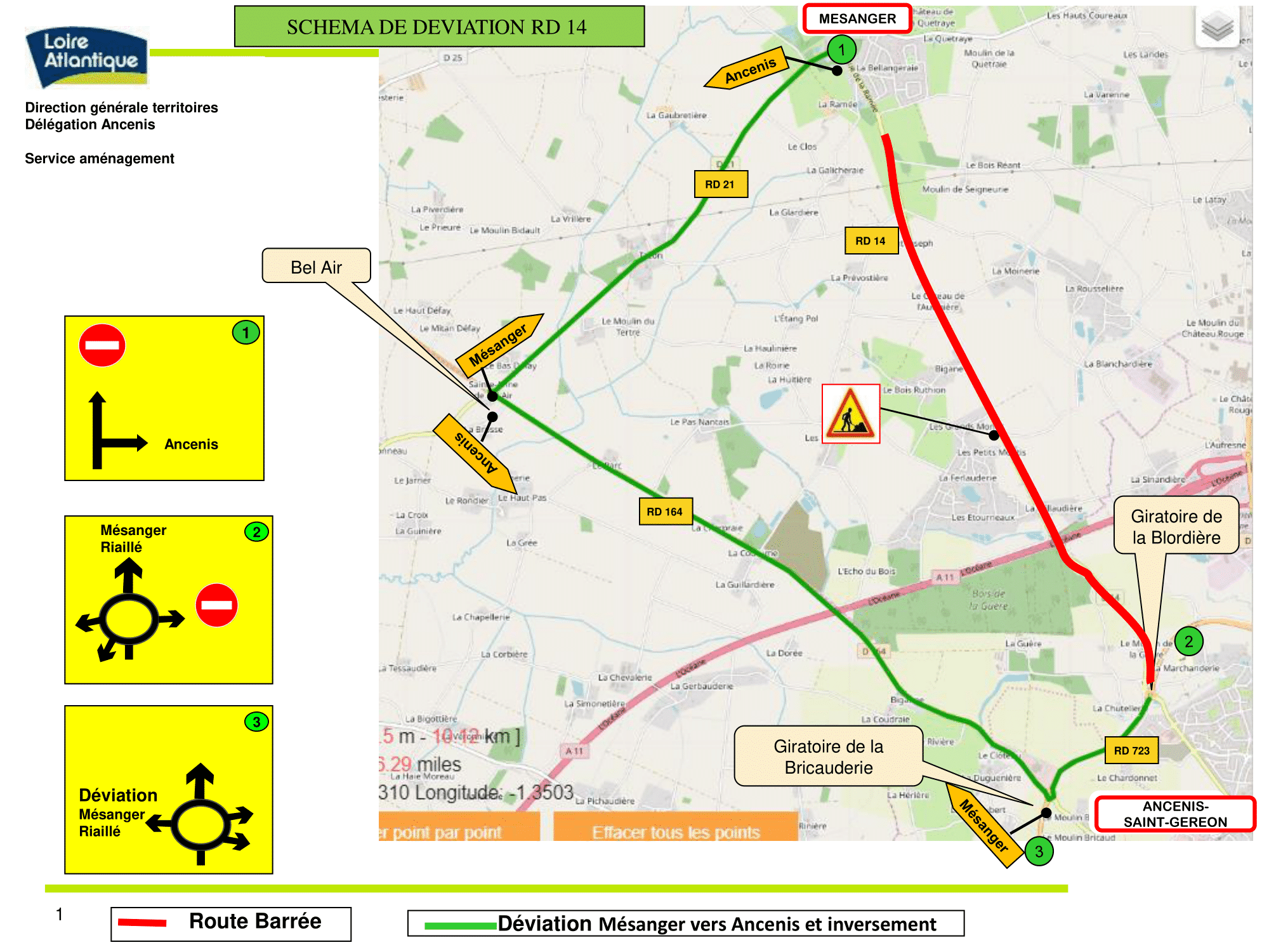 Arrêté circulation – RD14, Mairie de Mésanger