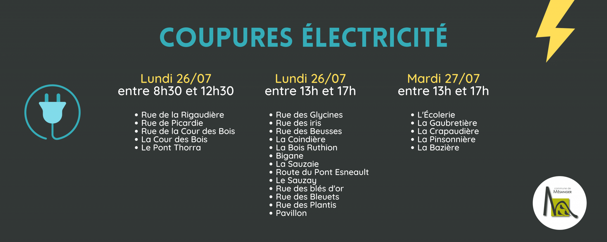 Coupures 26/07 et 27/07, Mairie de Mésanger