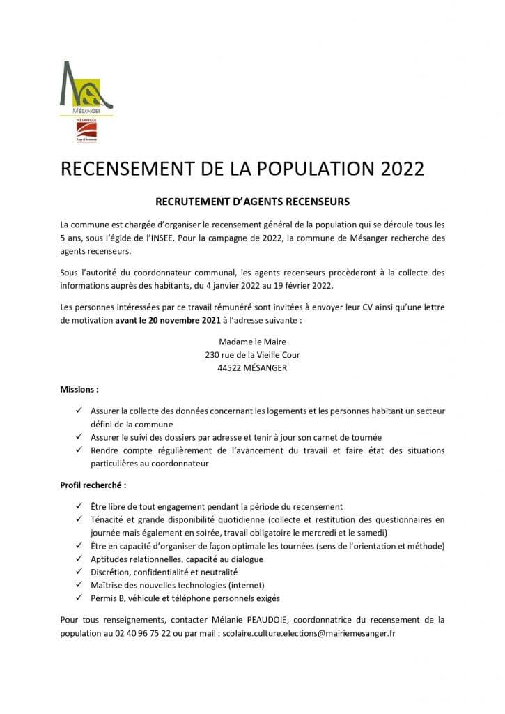 RECRUTEMENT D'AGENTS RECENSEURS, Mairie de Mésanger