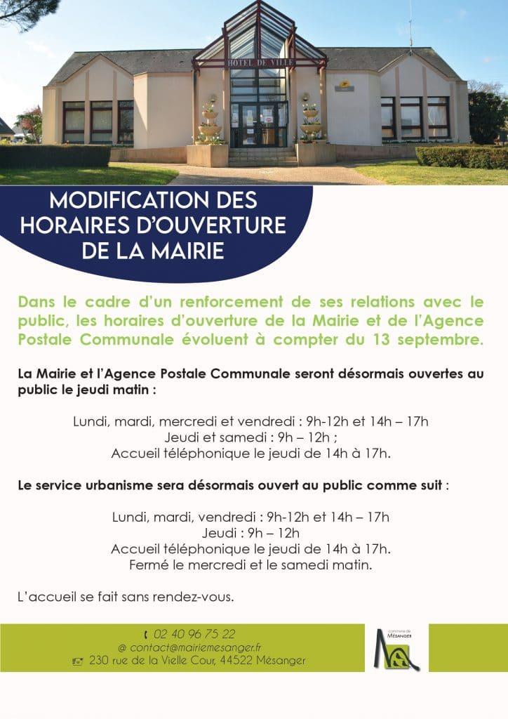 Modification des horaires d'ouverture de la Mairie, Mairie de Mésanger
