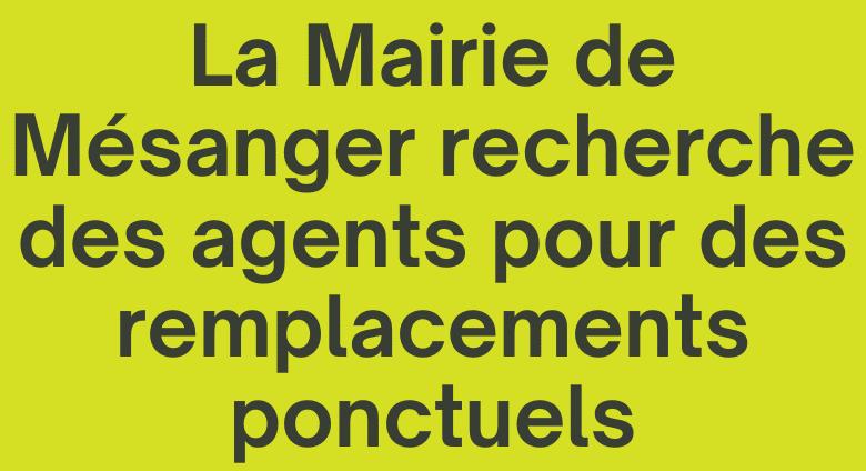 Recrutement pour remplacements ponctuels, Mairie de Mésanger